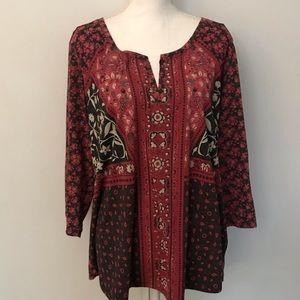 Lucky Brand Plus Red Boho Passant 3/4 Sleeve Tunic